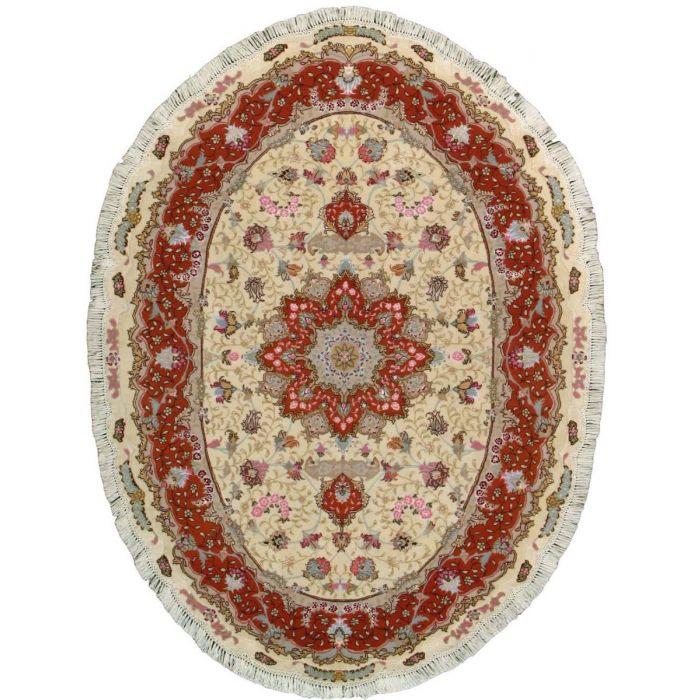 "https://www.armanrugs.com/   4' 10"" x 6' 6"" Beige Tabriz Hand Knotted Wool & Silk Authentic Persian Rug"