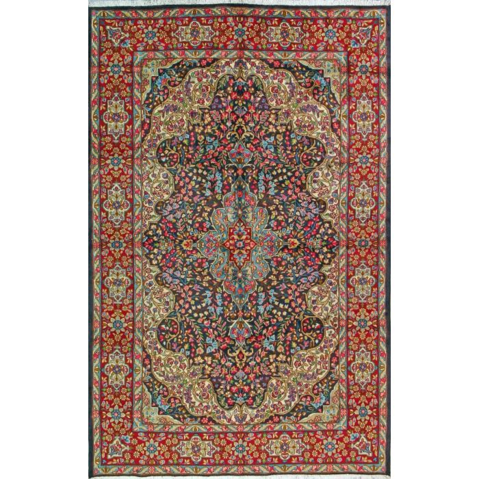 "https://www.armanrugs.com/ | 6' 7"" x 10' 5"" Navy Blue kerman Hand Knotted Wool Authentic Persian Rug"