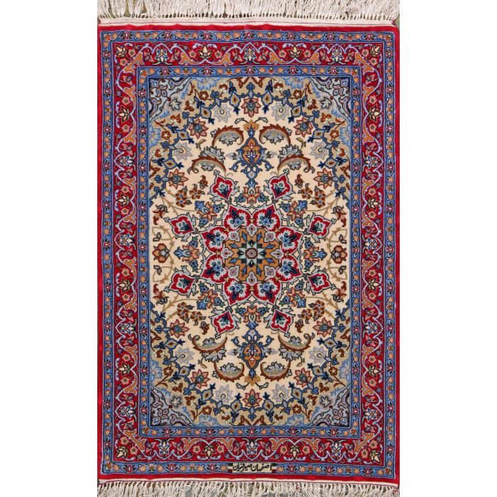 """https://www.armanrugs.com/   2' 4"""" x 2' 11"""" Navy Blue Esfahan Hand Knotted Wool & Silk Authentic Persian Rug"""