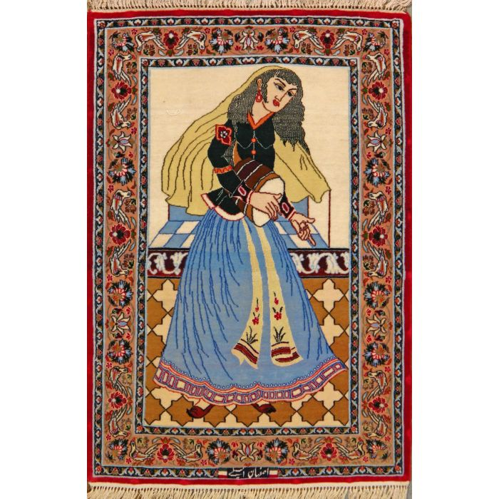 """https://www.armanrugs.com/   2' 4"""" x 3' 5"""" Beige Esfahan Hand Knotted Wool & Silk Authentic Persian Rug"""