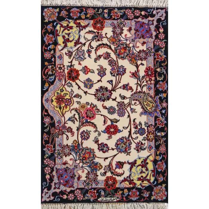 """https://www.armanrugs.com/   2' 4"""" x 3' 8"""" Beige Esfahan Hand Knotted Wool & Silk Authentic Persian Rug"""