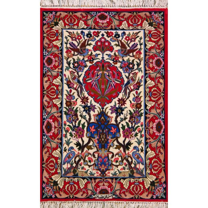 """https://www.armanrugs.com/   2' 3"""" x 3' 4"""" Beige Esfahan Hand Knotted Wool & Silk Authentic Persian Rug"""
