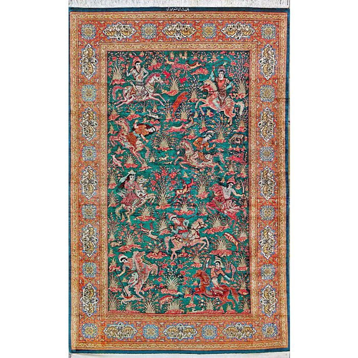 """https://www.armanrugs.com/   4' 2"""" x 6' 8"""" Green Qum Hand Knotted Silk Authentic Persian Rug"""