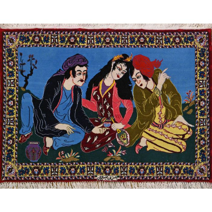 """https://www.armanrugs.com/   2' 5"""" x 3' 3"""" Navy Blue Esfahan Hand Knotted Wool & Silk Authentic Persian Rug"""
