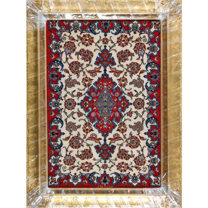 """https://www.armanrugs.com/   2' 2"""" x 3' 5"""" Red Esfahan Hand Knotted Wool & Silk Authentic Persian Rug"""