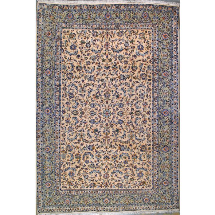 """https://www.armanrugs.com/   8' 8"""" x 12' 10"""" Beige Kashan Hand Knotted Wool Authentic Persian Rug"""