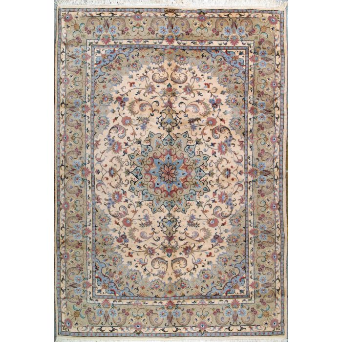 """https://www.armanrugs.com/   6' 8"""" x 9' 8"""" Beige Tabriz Hand Knotted Wool Authentic Persian Rug"""