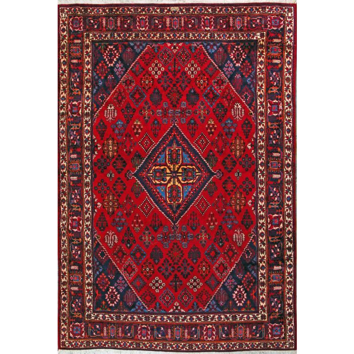 """https://www.armanrugs.com/   7' 5"""" x 11' 1"""" Red Maymeh Hand Knotted Wool Authentic Persian Rug"""