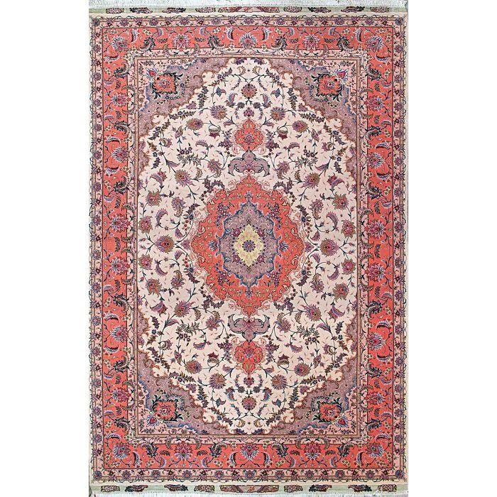 "https://www.armanrugs.com/   6' 7"" x 10' 2"" Beige Tabriz Hand Knotted Wool & Silk Authentic Persian Rug"