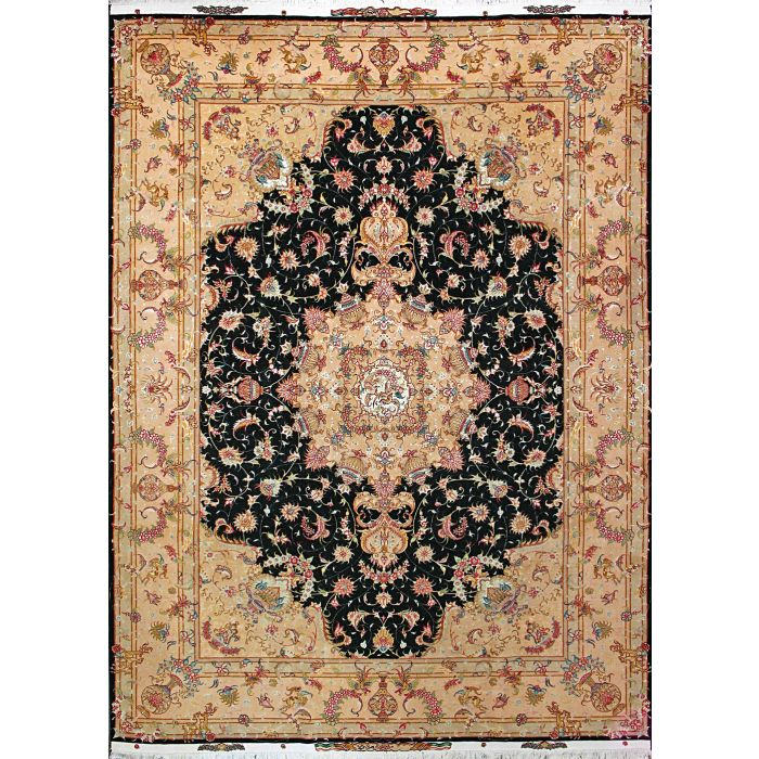 """https://www.armanrugs.com/   8' 2"""" x 11' 5"""" Green Tabriz Hand Knotted Wool & Silk Authentic Persian Rug"""
