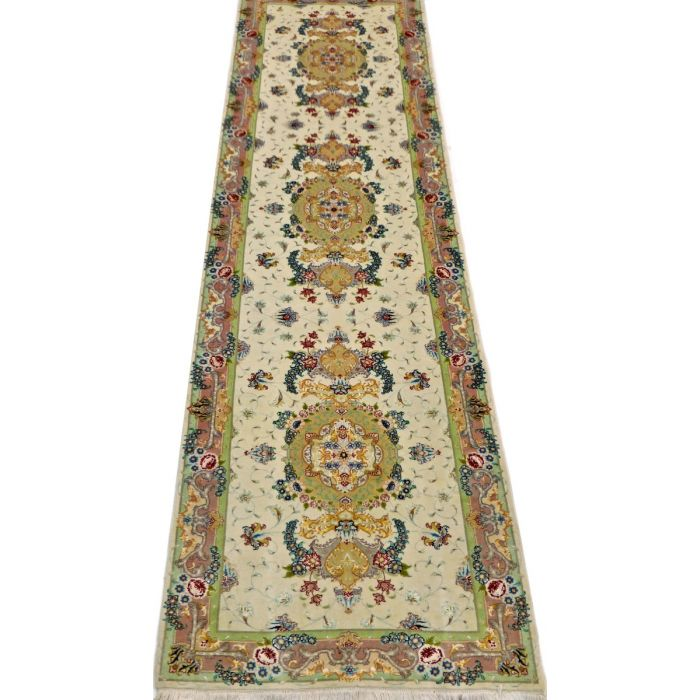 "https://www.armanrugs.com/ | 2' 8"" x 10' 2"" Beige Tabriz Hand Knotted Wool & Silk Authentic Runner Persian Rug"