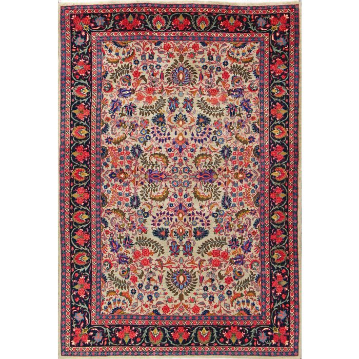 """https://www.armanrugs.com/   4' 8"""" x 7' 1"""" Beige Sarough Hand Knotted Wool Authentic Persian Rug"""