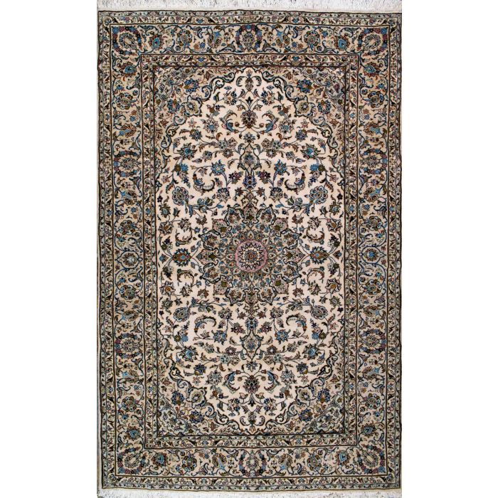 "https://www.armanrugs.com/ | 6' 3"" x 10' 4"" Beige Kashan Hand Knotted Wool Authentic Persian Rug"