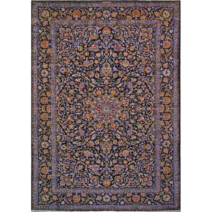 """https://www.armanrugs.com/   8' 2"""" x 11' 8"""" Navy Blue Kashan Hand Knotted Wool Authentic Persian Rug"""