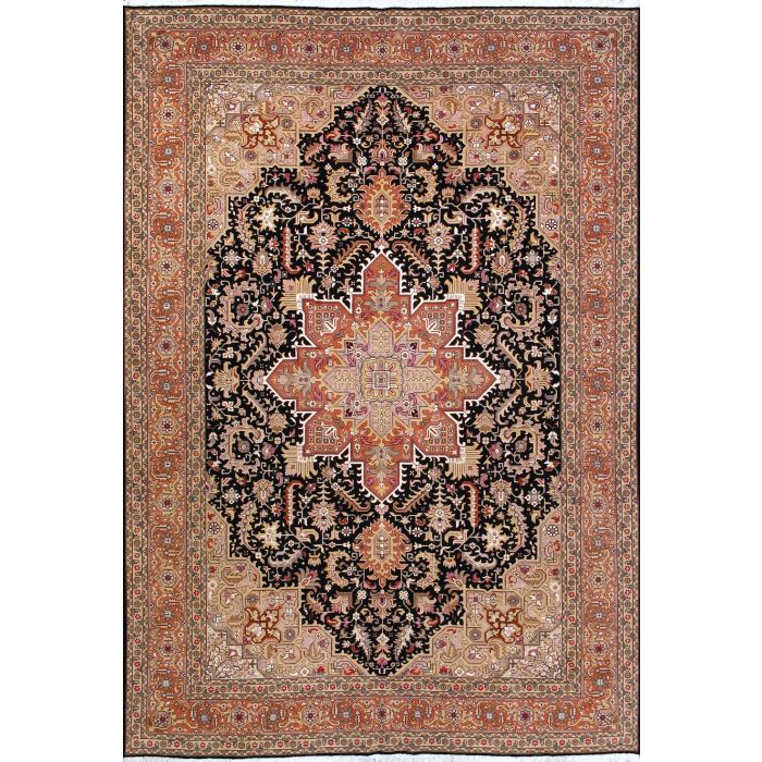 """https://www.armanrugs.com/   6' 11"""" x 9' 10"""" Navy Blue Tabriz Hand Knotted Wool & Silk Authentic Persian Rug"""