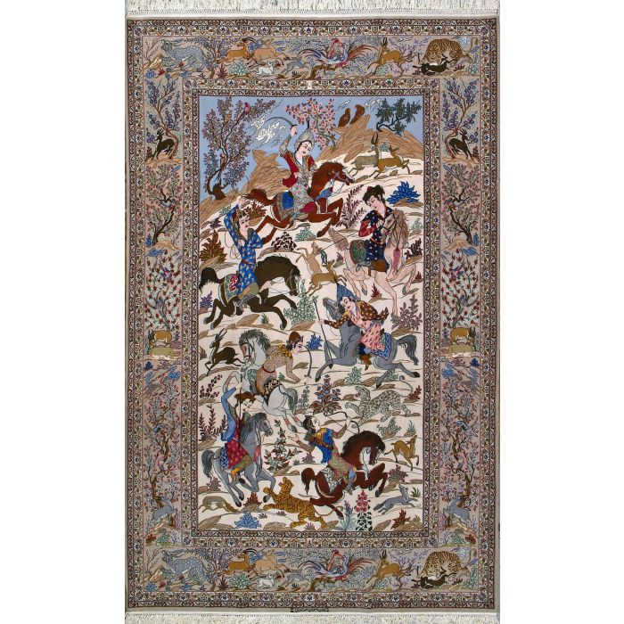"""https://www.armanrugs.com/   6' 1"""" x 9' 8"""" Beige Esfahan Hand Knotted Wool & Silk Authentic Persian Rug"""