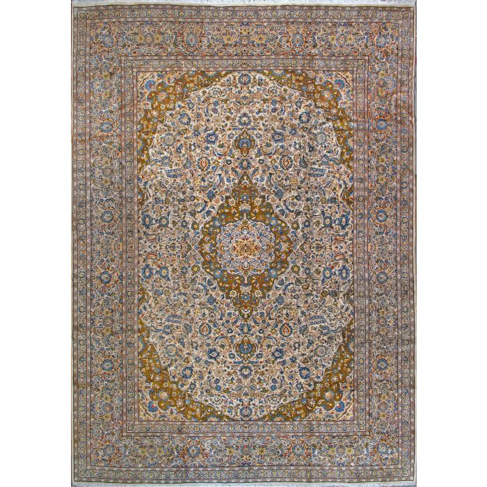 """https://www.armanrugs.com/   11' 6"""" x 16' 5"""" Beige Kashan Hand Knotted Wool Authentic Persian Rug"""