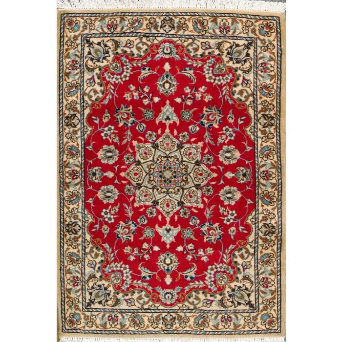 """https://www.armanrugs.com/   3' 3"""" x 4' 9"""" Red Nain Hand Knotted Wool Authentic Persian Rug"""