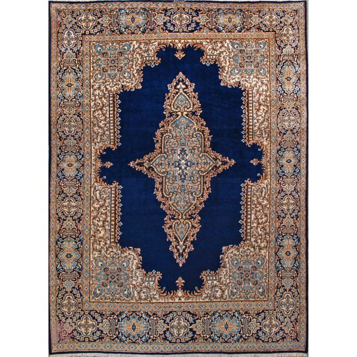"""https://www.armanrugs.com/   9' 2"""" x 12' 6"""" Navy Blue kerman Hand Knotted Wool Authentic Persian Rug"""