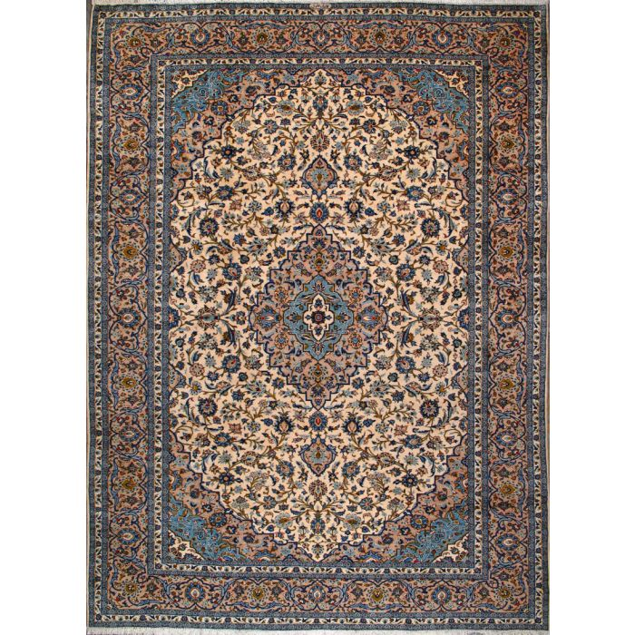 """https://www.armanrugs.com/   9' 8"""" x 13' 1"""" Beige Kashan Hand Knotted Wool Authentic Persian Rug"""