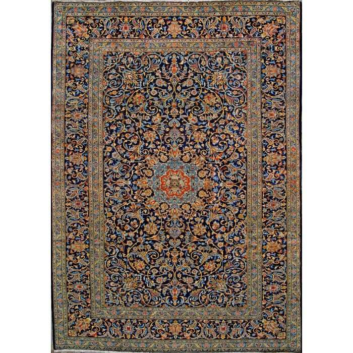 """https://www.armanrugs.com/   8' 2"""" x 11' 6"""" Blue Kashan Hand Knotted Wool Authentic Persian Rug"""