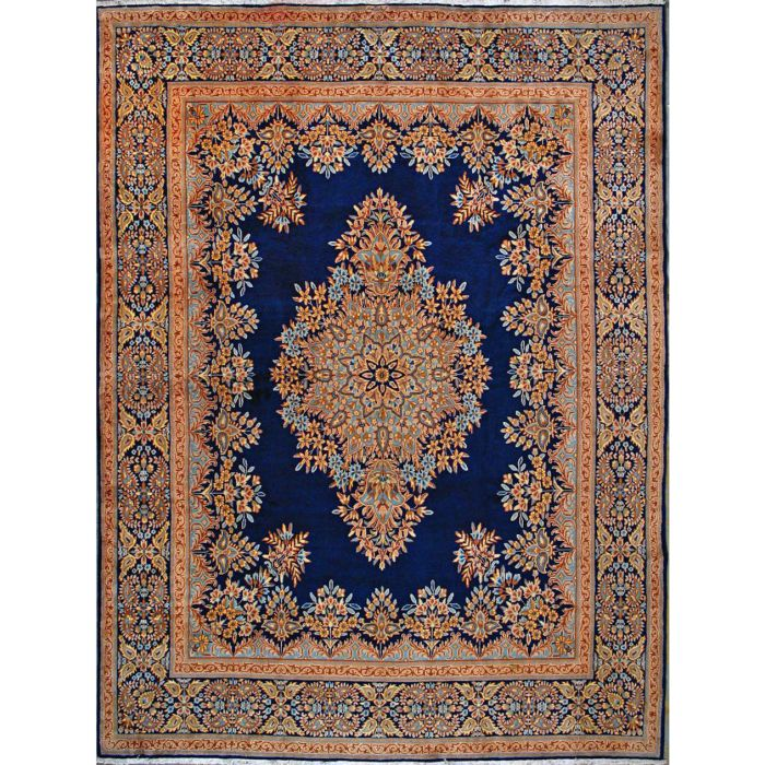 """https://www.armanrugs.com/   9' 9"""" x 13' 1"""" Navy Blue Hand Knotted Authentic Kerman Persian Rug"""