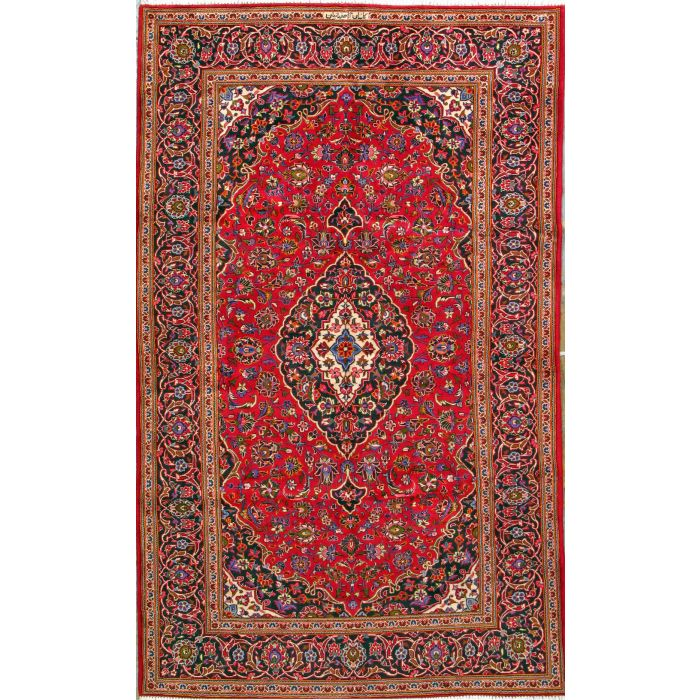 """https://www.armanrugs.com/   6' 5"""" x 10' 5"""" Red Kashan Hand Knotted Wool Authentic Persian Rug"""