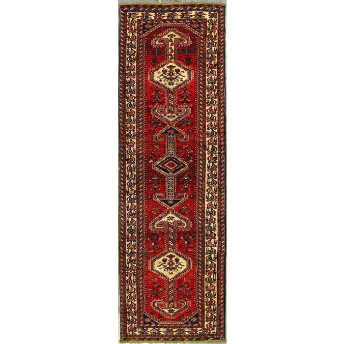 """https://www.armanrugs.com/   3' 7"""" x 11' 10"""" Red Nasrabad Hand Knotted Wool Authentic Runner Persian Rug"""