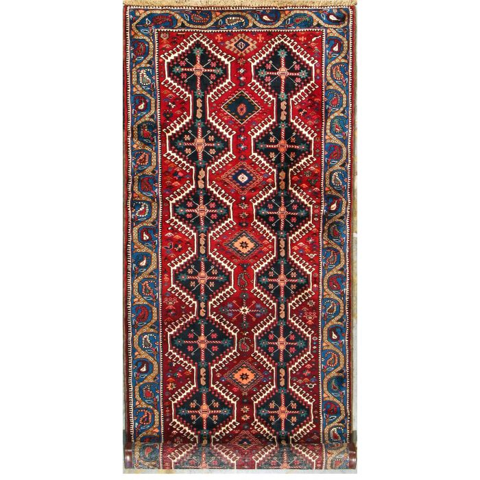 """https://www.armanrugs.com/   3' 8"""" x 10' 6"""" Red Yalameh Hand Knotted Wool Authentic Runner Persian Rug"""