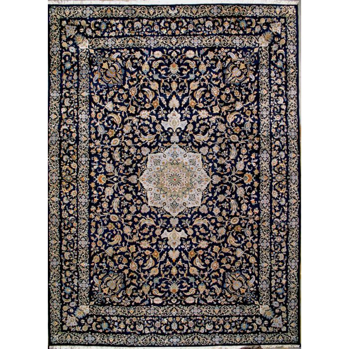 "https://www.armanrugs.com/ | 10' 10"" x 14' 11"" Navy Blue Kashan Hand Knotted Wool Authentic Persian Rug"