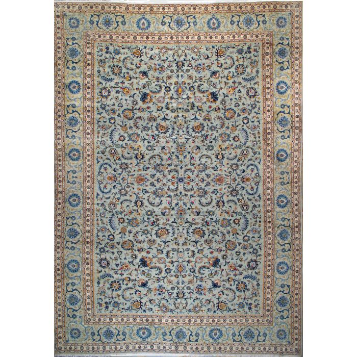"""https://www.armanrugs.com/   11' 6"""" x 16' 10"""" Green Kashan Hand Knotted Wool Antique  Persian Rug"""