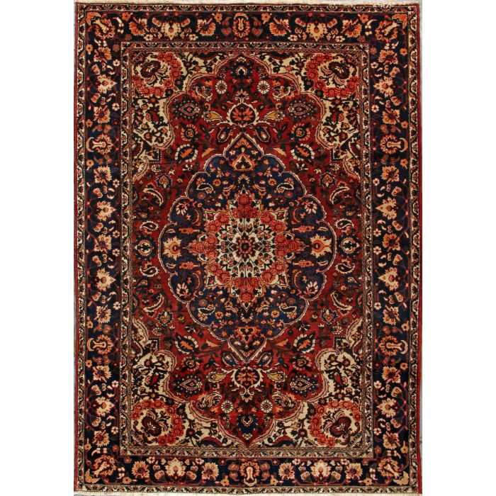 """https://www.armanrugs.com/   6' 11"""" x 9' 11"""" Red Bakhtiari Hand Knotted Wool Authentic Persian Rug"""
