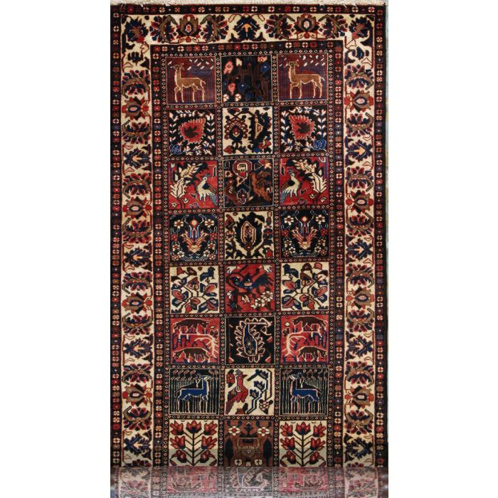 """https://www.armanrugs.com/   3' 9"""" x 11' 8"""" Brown Bakhtiari Hand Knotted Wool Authentic Runner Persian Rug"""