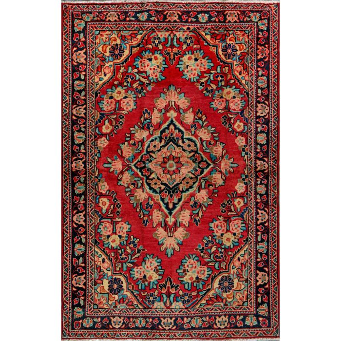 """https://www.armanrugs.com/   4' 3"""" x 6' 10"""" Red Lillian Hand Knotted Wool Authentic Persian Rug"""