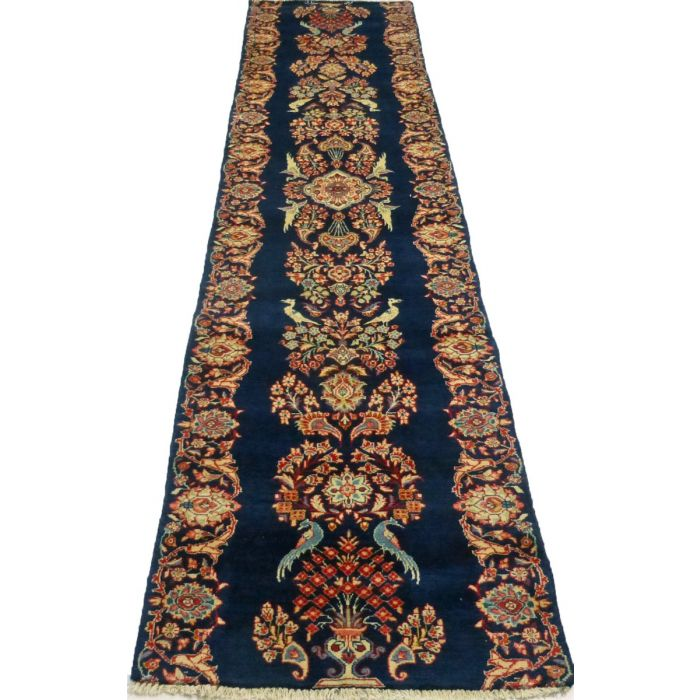 """https://www.armanrugs.com/   2' 8"""" x 12' 8"""" Navy Blue Sarough Hand Knotted Wool Authentic Runner Persian Rug"""
