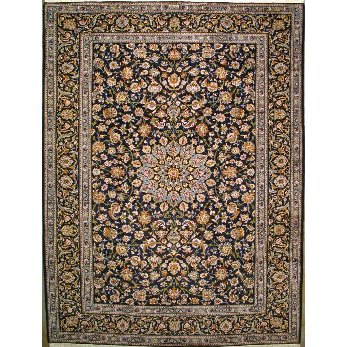 "https://www.armanrugs.com/ | 9' 10"" x 13' 1"" Navy Blue Kashan Hand Knotted Wool Authentic Persian Rug"