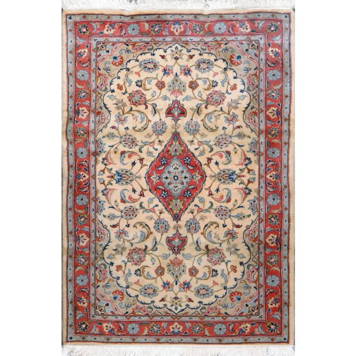"""https://www.armanrugs.com/   3' 4"""" x 4' 11"""" Red Tabriz Hand Knotted Wool Authentic Persian Rug"""