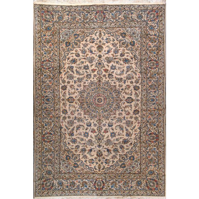 "https://www.armanrugs.com/ | 6' 9"" x 9' 11"" Beige Kashan Hand Knotted Wool Authentic Persian Rug"