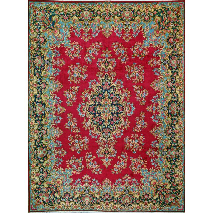 """https://www.armanrugs.com/   10' 1"""" x 13' 7"""" Red kerman Hand Knotted Wool Authentic Persian Rug"""