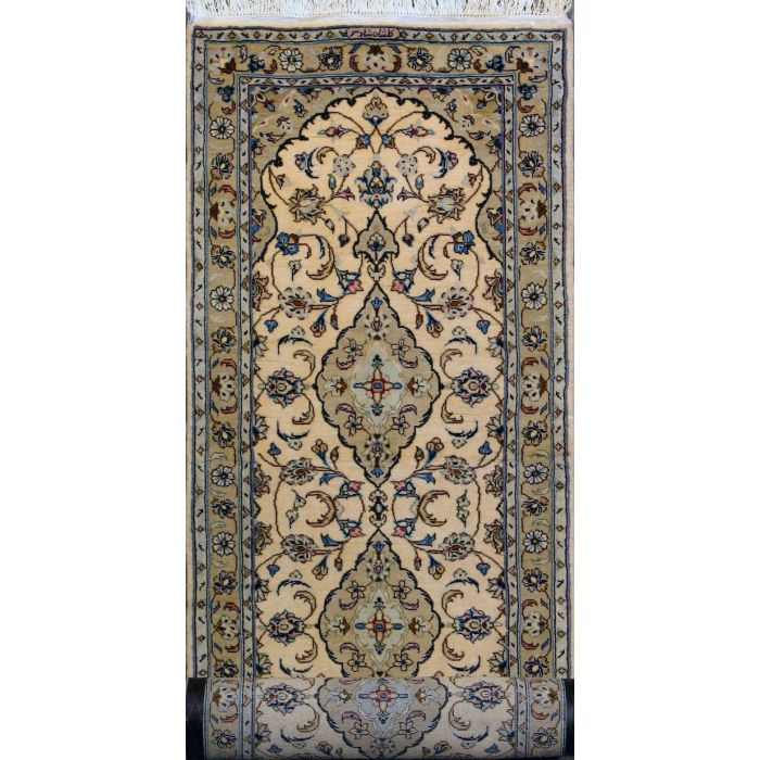 "https://www.armanrugs.com/ | 2' 8"" x 10'   Beige Kashan Hand Knotted Wool Authentic Persian Rug"