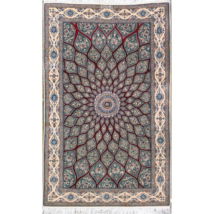 """https://www.armanrugs.com/   4' 2"""" x 6' 9"""" Red Nain Hand Knotted Wool & Silk Authentic Persian Rug"""