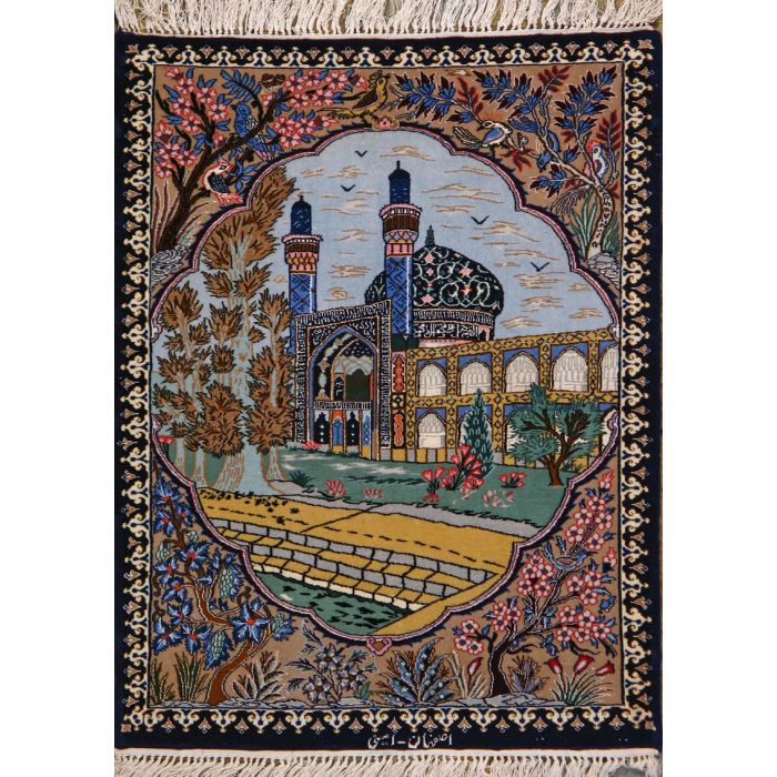 """https://www.armanrugs.com/   2' 4"""" x 3' 2""""  Esfahan Hand Knotted Wool & Silk Authentic Persian Rug"""