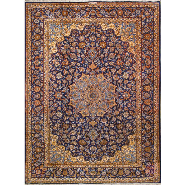 """https://www.armanrugs.com/   9' 8"""" x 13' 1"""" Navy Blue Esfahan Hand Knotted Wool Authentic Persian Rug"""