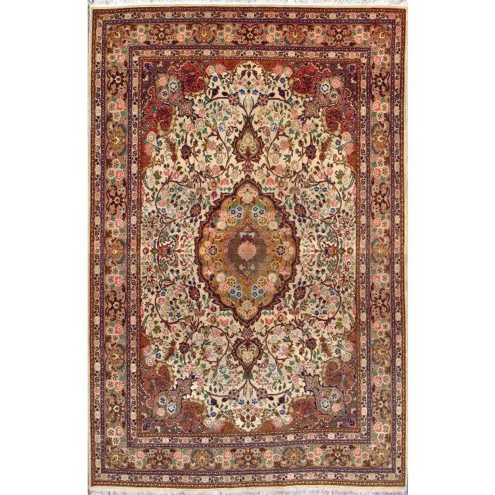 "https://www.armanrugs.com/ | 6' 7"" x 9' 10"" Beige Tabriz Hand Knotted Wool & Silk Authentic Persian Rug"