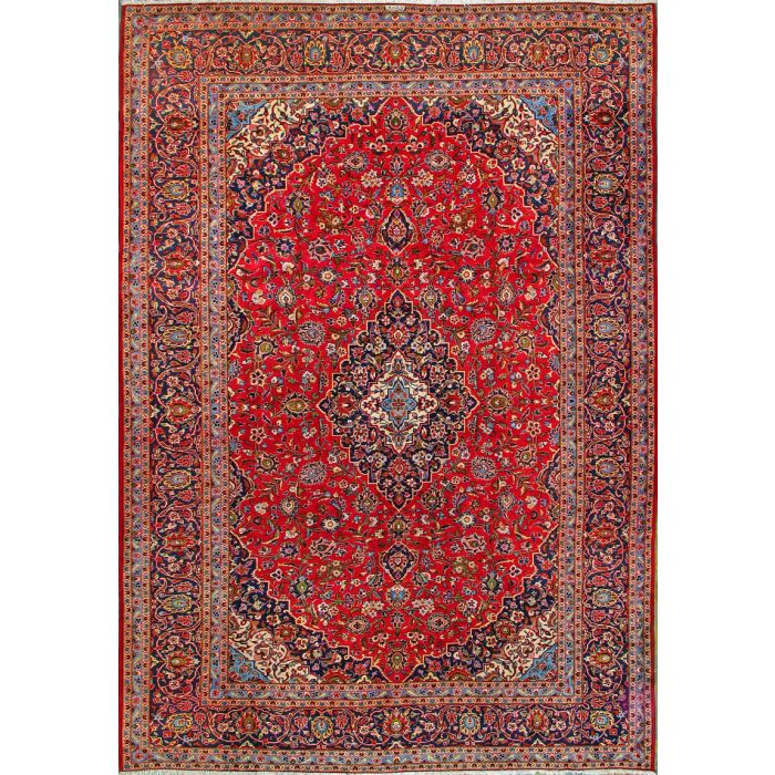 "https://www.armanrugs.com/ | 9' 6"" x 13' 11"" Red Kashan Hand Knotted Wool Authentic Persian Rug"