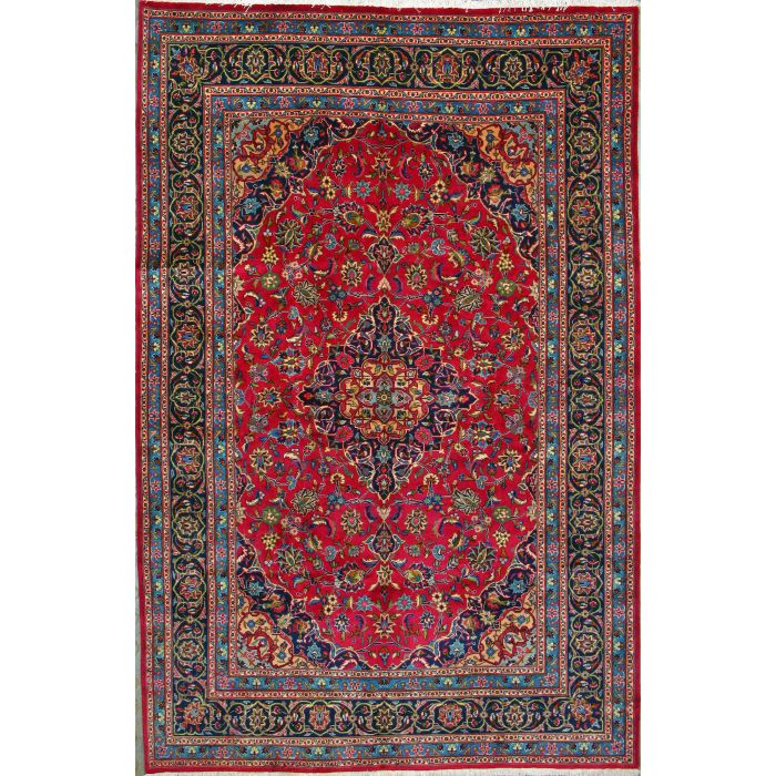 """https://www.armanrugs.com/   6' 6"""" x 10' 0"""" Red Mashad Hand Knotted Wool Authentic Persian Rug"""
