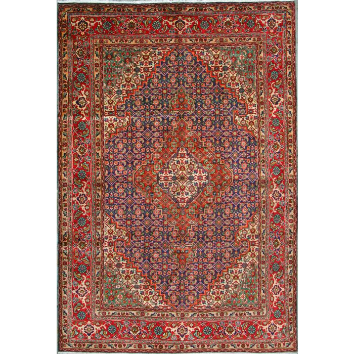 """https://www.armanrugs.com/   6' 6"""" x 9' 8"""" Red Tabriz Hand Knotted Wool Authentic Persian Rug"""