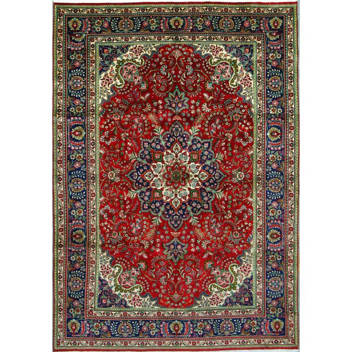 """https://www.armanrugs.com/   7' 2"""" x 10' 5"""" Red Tabriz Hand Knotted Wool Authentic Persian Rug"""