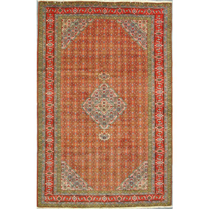 """https://www.armanrugs.com/   6' 4"""" x 9' 10"""" Red Tabriz Hand Knotted Wool Authentic Persian Rug"""