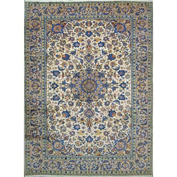 """https://www.armanrugs.com/   9' 8"""" x 13' 1"""" Beige Esfahan Hand Knotted Wool Authentic Persian Rug"""